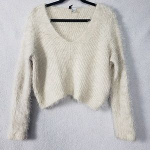H&M Divided Cream Fuzzy Sweater Size Large